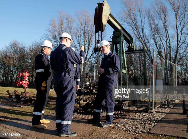 Prime Minister David Cameron visits the Total Oil Depot shale drilling site in Gainsborough Lincolnshire on January 13 2014 French company Total...