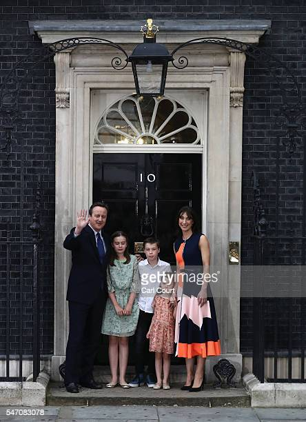 Prime Minister David Cameron waves as he leaves Downing Street for the last time with his wife Samantha Cameron and children Nancy Cameron Arthur...
