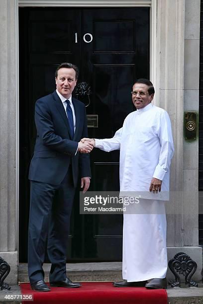 Prime Minister David Cameron welcomes President Maithripala Sirisena of Sri Lanka to Downing Street on March 10 2015 in London England President...