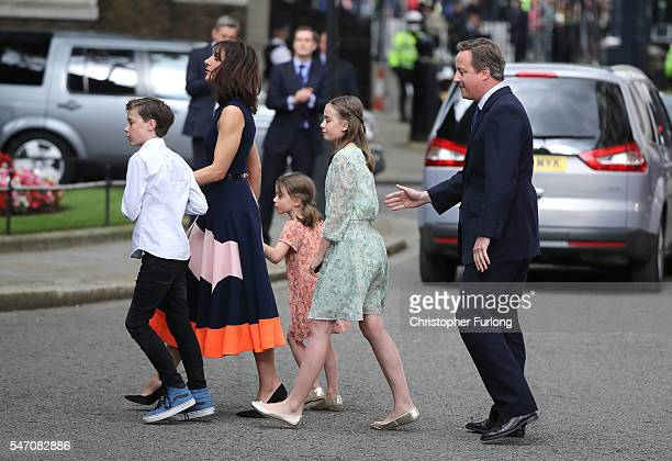 Prime Minister David Cameron with his wife Samantha and children Nancy Arthur and Florence leave 10 Downing Street for the last time after speaking...