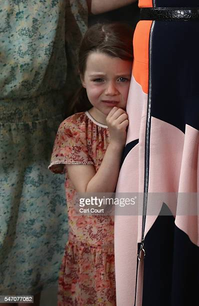 Prime Minister David Cameron's child Florence Cameron is seen as he speaks for the last time as he leaves Downing Street on July 13 2016 in London...
