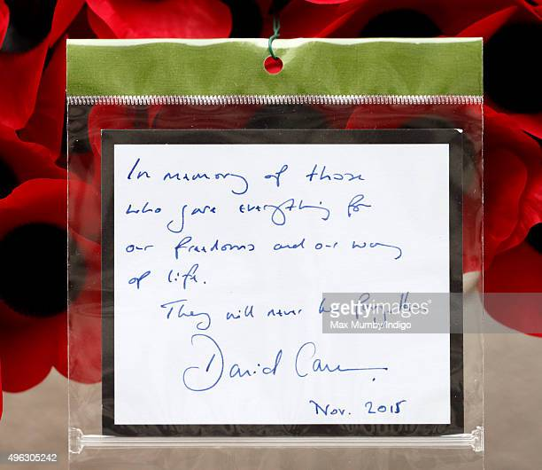 Prime Minister David Cameron's hand written note on his wreath which he laid at the Cenotaph during the annual Remembrance Sunday Service on November...