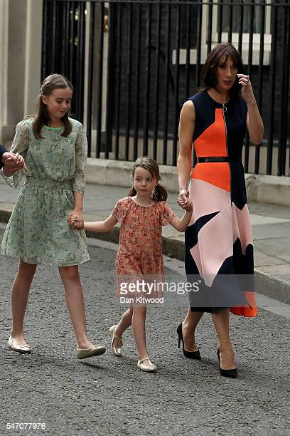 Prime Minister David Cameron's youngest daughter Florence Cameron leaves Downing Street for the last time with her mother Samantha Cameron and sister...
