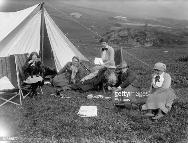 Prime Minister David Lloyd George's family on a camping holiday at Moel Hebog in North Wales From left daughter Megan his wife Margaret Lloyd George...