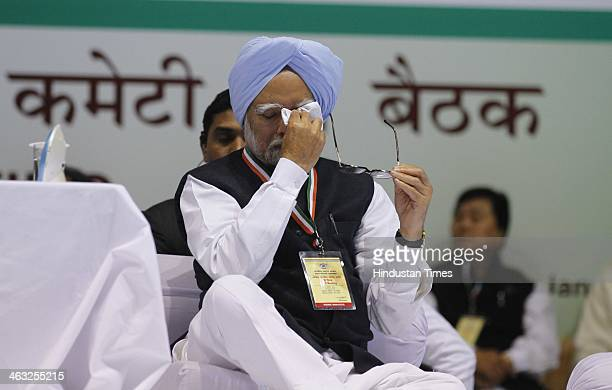 Prime Minister Dr Manmohan Singh during All India Congress Committee meet at Talkatora stadium on January 17 2014 in New Delhi India Rahul Gandhi...