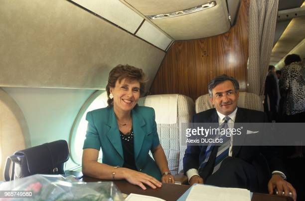 Prime Minister Edith Cresson And Minister Dominique Strauss Kahn In The Plane For Portugal July 25 1991