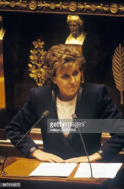 Prime Minister Edith Cresson At French National Assembly Paris February 7 1992