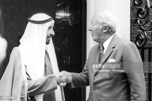 Prime Minister Edward Heath greets Sheikh Zayed bin Sultan Al Nahyan president of the United Arab Emirates as he arrived for lunch at 10 Downing...