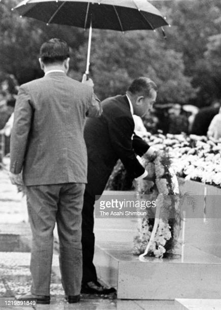 Prime Minister Eisaku Sato offers a wreath in front of the cenotaph during the Peace Memorial Ceremony on the 26th anniversary of the Hiroshima ABomb...