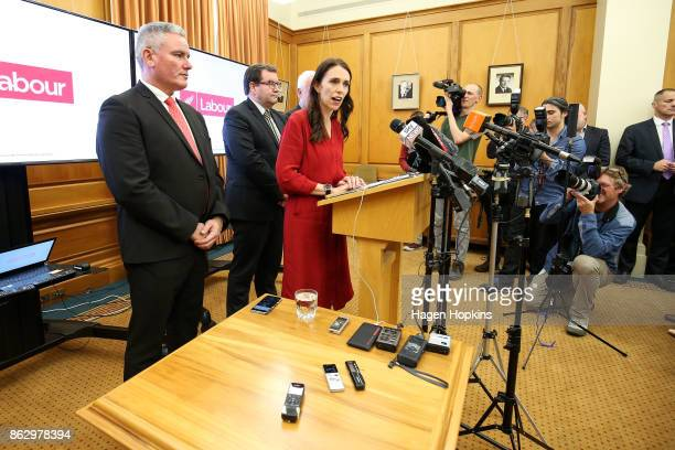 Prime Minister elect Jacinda Ardern speaks during a Labour Party announcement with Grant Robertson and Kelvin Davis at Parliament on October 19 2017...