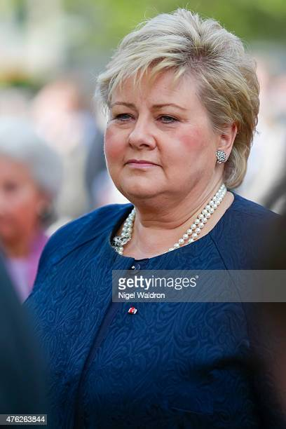 Prime Minister Erna Solberg of Norway attends the unveiling of a statue of King Olav V at the City Hall Square on June 7 2015 in Oslo Norway