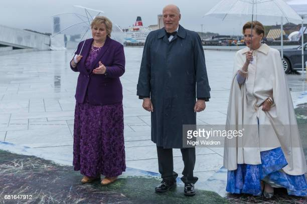 Prime Minister Erna Solberg of Norway King Harald of Norway and Queen Sonja of Norway arrives at the Opera House on the occasion of the celebration...