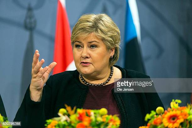 Prime Minister Erna Solberg of Norway speaks at the joint Nordic and Baltic states Prime Minister's press conference during The Nordic Council's 68...