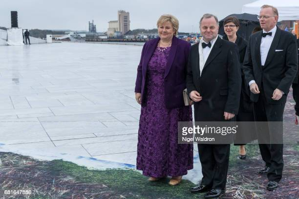 Prime Minister Erna Solberg Olemic Thommessen and Sndre Finnes of Norway arrives at the Opera House on the occasion of the celebration of King Harald...