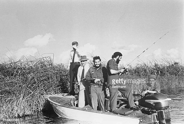 Prime Minister Fidel Castro Soviet Deputy Premier Anastas Mikoyan and INRA Director Captain Antonio Nunez Jimenez try their hand at game fishing at...