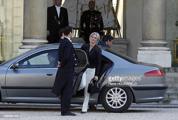 Prime Minister Francois Fillon and his wife in Paris France on May 06th 2008