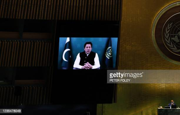 Prime Minister from the Islamic Republic of Pakistan Imran Khan addresses via prerecorded video the General Debate of the 76th session of the United...