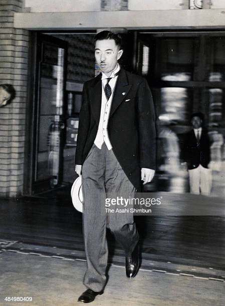 Prime Minister Fumimaro Konoe arrives at his office to attend a cabinet meeting on August 2 1937 in Tokyo Japan Konoe was three time Prime Minister...