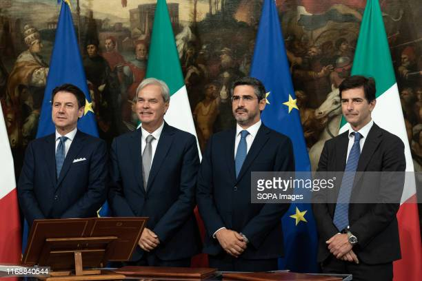 Prime Minister Giuseppe Conte Achille Variati Riccardo Fraccaro and Roberto Chieppa during the Swearing in ceremony of the State Undersecretaries in...