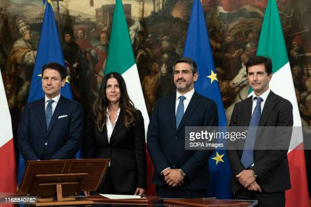 Prime Minister Giuseppe Conte Alessandra Todde Riccardo Fraccaro and Roberto Chieppa during the Swearing in ceremony of the State Undersecretaries in...
