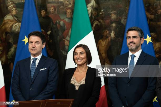 Prime Minister Giuseppe Conte Alessia Morani and Riccardo Fraccaro during the Swearing in ceremony of the State Undersecretaries in Rome