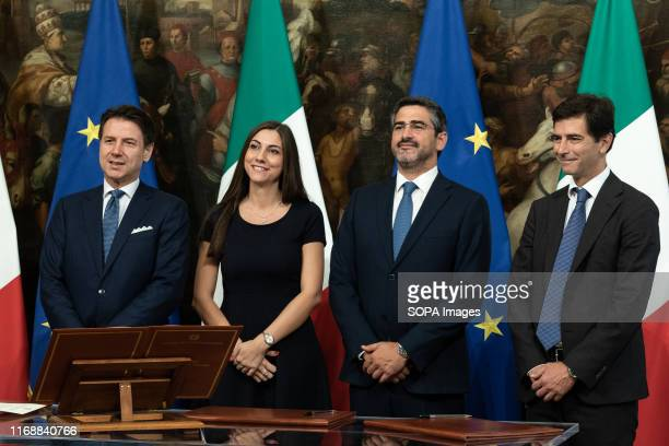 Prime Minister Giuseppe Conte Anna Ascani Riccardo Fraccaro and Roberto Chieppa during the Swearing in ceremony of the State Undersecretaries in Rome