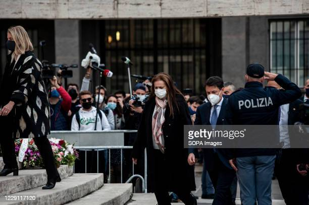 Prime Minister Giuseppe Conte arrives at St. Nicholas Church to attend the funeral ceremony of the Calabria regional governor Jole Santelli. A...