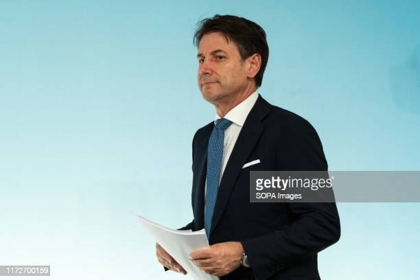 Prime Minister Giuseppe Conte at the end of the Council of Ministers speaks to a press conference about the note updating the Document of Economy and...
