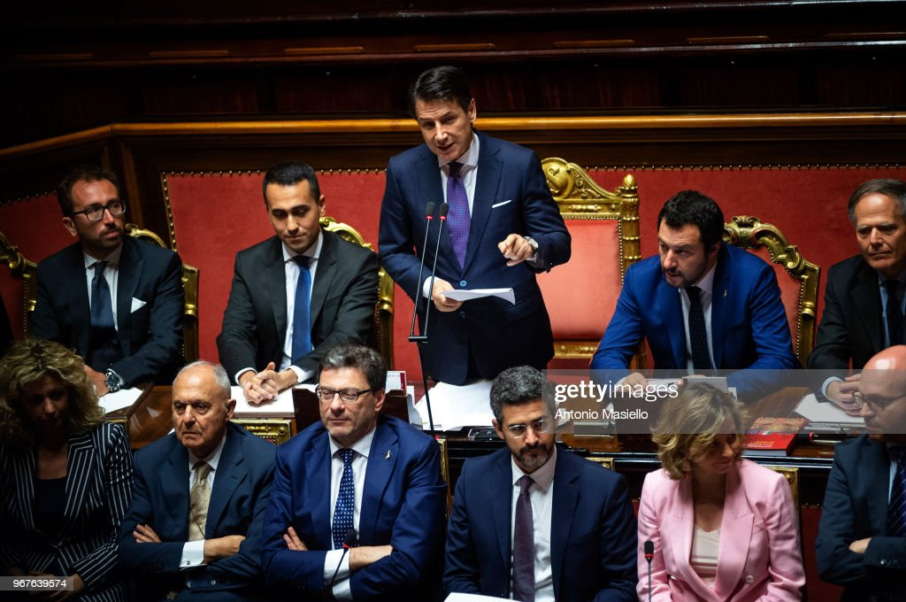 Prime Minister, Giuseppe Conte delivers his speech during the confidence vote for the new government at the Italian Senate on June 5, 2018 in Rome, Italy.