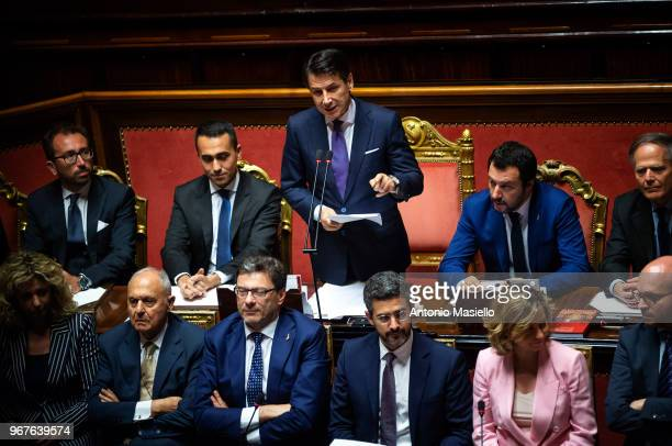 Prime Minister Giuseppe Conte delivers his speech during the confidence vote for the new government at the Italian Senate on June 5 2018 in Rome Italy