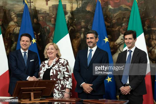 Prime Minister Giuseppe Conte Emanuela Claudia Del Re Riccardo Fraccaro and Roberto Chieppa during the Swearing in ceremony of the State...
