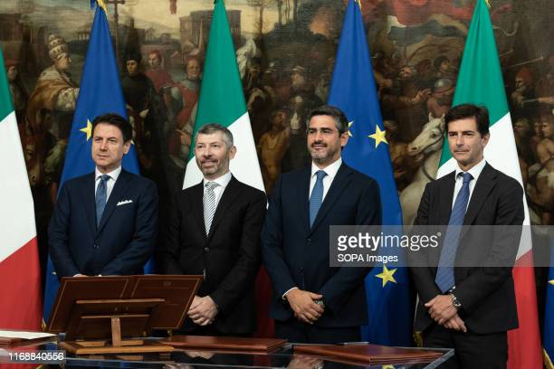 Prime Minister Giuseppe Conte Ivan Scalfarotto Riccardo Fraccaro and Roberto Chieppa during the Swearing in ceremony of the State Undersecretaries in...