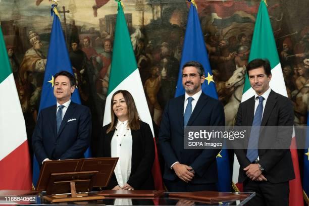 Prime Minister Giuseppe Conte Laura Agea Riccardo Fraccaro and Roberto Chieppa during the Swearing in ceremony of the State Undersecretaries in Rome