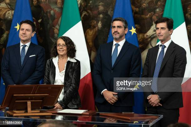 Prime Minister Giuseppe Conte Marina Sereni Riccardo Fraccaro and Roberto Chieppa during the Swearing in ceremony of the State Undersecretaries in...