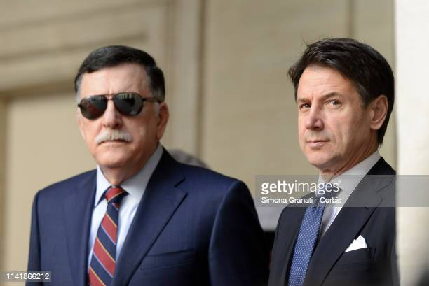 Prime Minister Giuseppe Conte meets at Palazzo Chigi the President of the Presidential Council of the Libyan National Agreement Government, Fayez al...