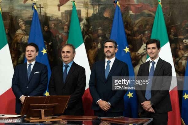 Prime Minister Giuseppe Conte Riccardo Antonio Merlo Riccardo Fraccaro and Roberto Chieppa during the Swearing in ceremony of the State...