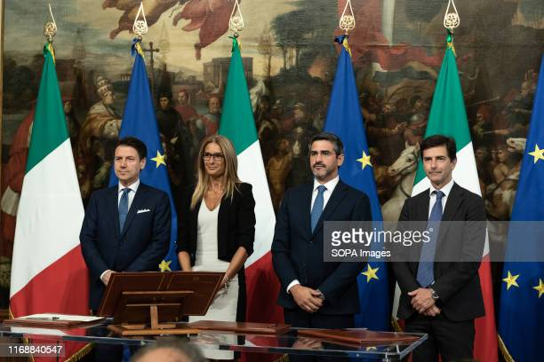 Prime Minister Giuseppe Conte Simona Flavia Malpezzi Riccardo Fraccaro and Roberto Chieppa during the Swearing in ceremony of the State...