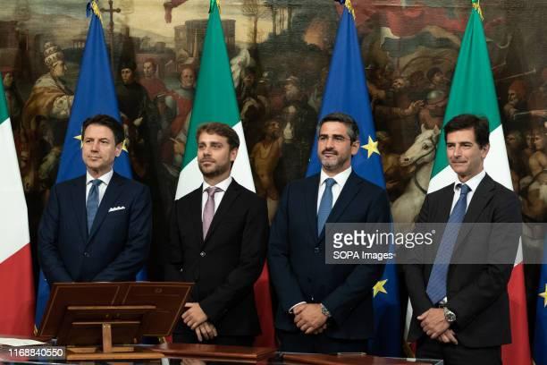 Prime Minister Giuseppe Conte Vittorio Ferraresi Riccardo Fraccaro and Roberto Chieppa during the Swearing in ceremony of the State Undersecretaries...