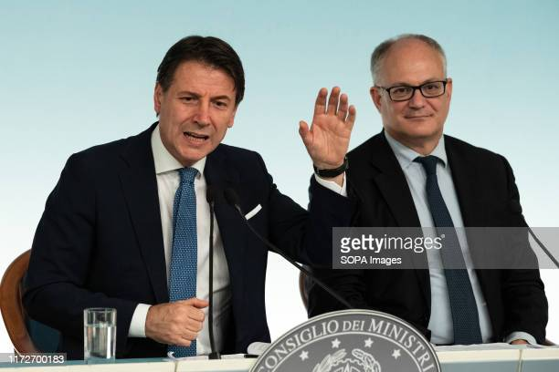 Prime Minister Giuseppe Conte with the Minister of Economy and Finance Roberto Gualtieri at the end of the Council of Ministers attend a press...