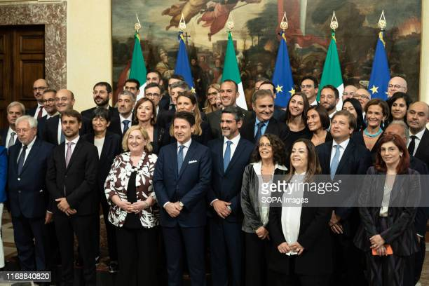 Prime Minister Giuseppe Conte with the State Undersecretaries at the end of the Swearing in ceremony in Rome