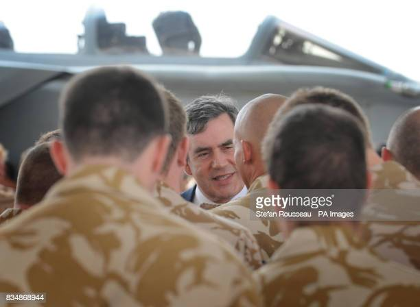 Prime Minister Gordon Brown addresses British forces at Al Udeid air base in Qatar