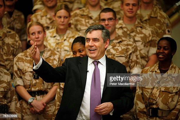 Prime Minister Gordon Brown addresses British soldiers at Basra airbase on December 9, 2007 in Iraq.
