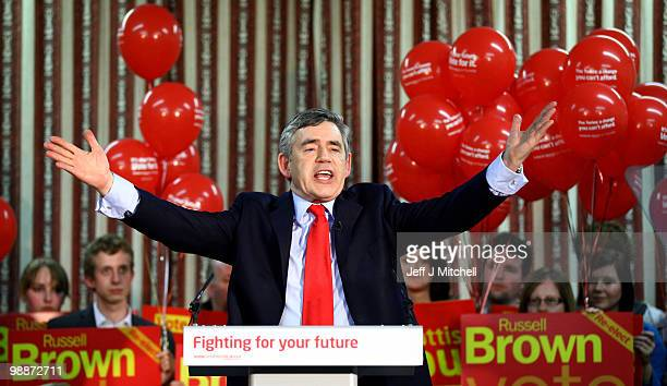 Prime Minister Gordon Brown addresses Labour Party supporters at a rally during the last day of campaigning before polling day on May 5, 2010 in...