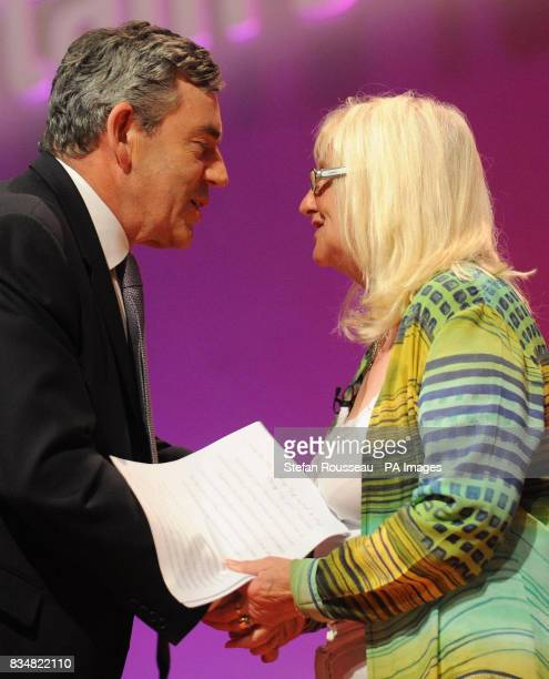 Prime Minister Gordon Brown and Aneira Thomas the first baby to be born on the NHS during the Labour Party's annual conference in Manchester