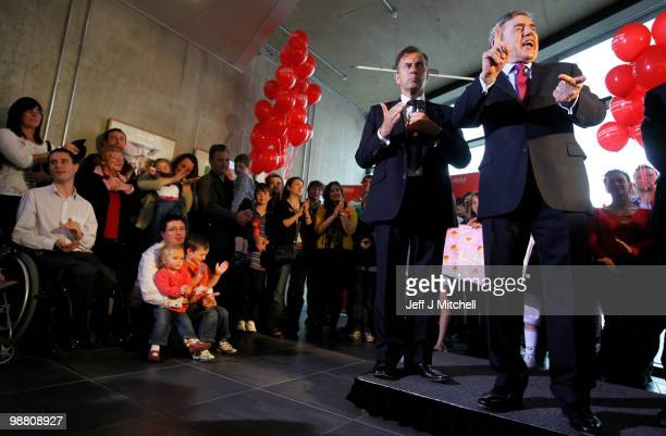 Prime Minister Gordon Brown and businessman Duncan Bannatyne meet with Lanour supporters at University Campus Suffolk on May 3 2010 in Ipswich...