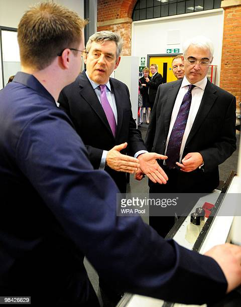 Prime Minister Gordon Brown and Chancellor Alistair Darling meet with students at Derby College on April 13 2010 in Derby England The General...