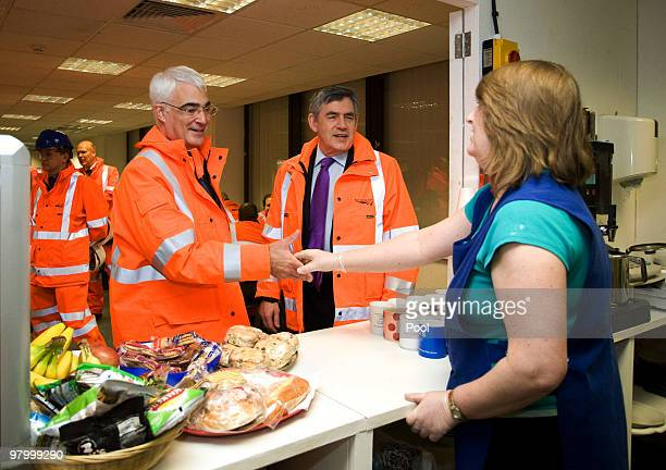 Prime Minister Gordon Brown and Chancellor of the Exchequer Alistair Darling visit Network Rail's Thameslink project at Blackfriars on March 24 2010...