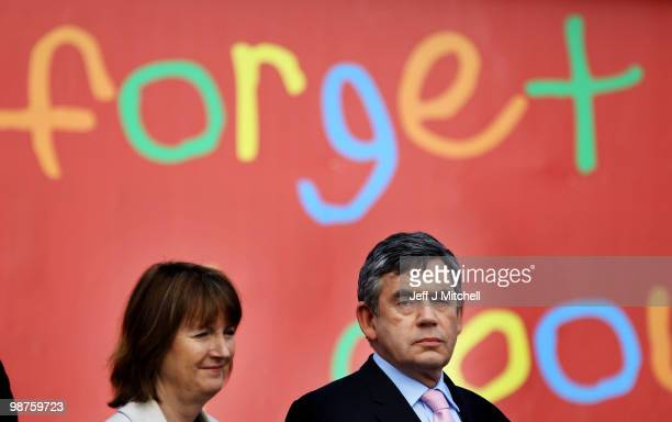 Prime Minister Gordon Brown and deputy leader Harriet Harman attend a party poster launch on April 30 2010 in Birmingham Engalnd The General Election...