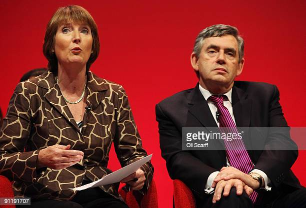 Prime Minister Gordon Brown and Harriet Harman the Deputy Leader of the Labour party speak at the Labour Party Conference on September 27 2009 in...