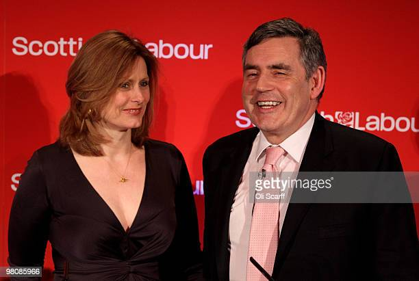 Prime Minister Gordon Brown and his wife Sarah acknowledge the audience after his address to the Scottish Labour Party conference on March 27 2010 in...